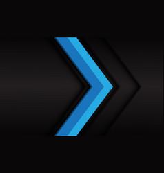 Blue arrow 3d direction on dark grey metallic vector