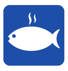 Blue white sign - grilling fish with smoke icon vector