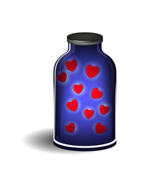 bottle with shiny hearts vector image