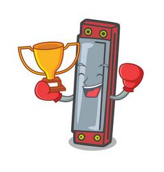 Boxing winner harmonica mascot cartoon style vector