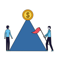businessmen with flag mountain coin on top vector image