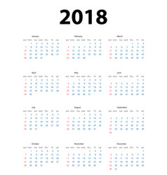 calendar 2018 week starts from sunday vector image