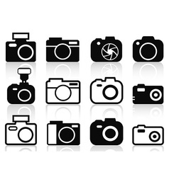 camera icons set vector image