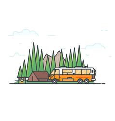 Camper caravan and camping vector