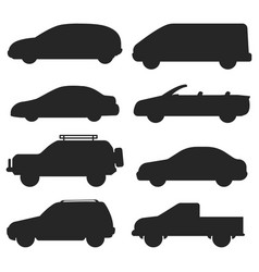 car auto vehicle transport silhouette type design vector image