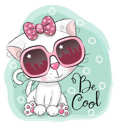 Cartoon cute white kitten girl with sun glasses vector