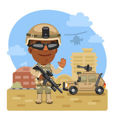 cartoon soldier at military base vector image