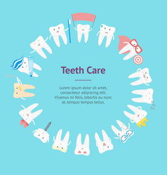 cartoon tooth banner card circle vector image