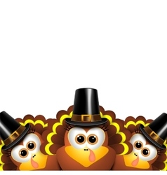 Cartoon turkeys in a pilgrim outfit vector