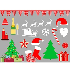 Christmas symbols in a flat style icons vector