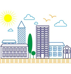 City skyline detailed silhouette Trendy line art vector
