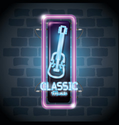 classic music bar neon label vector image