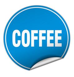 Coffee round blue sticker isolated on white vector