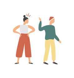 conflict colorful cartoon couple isolated on vector image