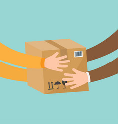 courier hands parcel to customer vector image