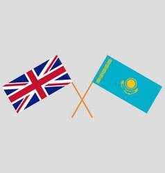 Crossed flags kazakhstan and uk vector