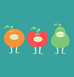Cute Fruits Standing vector image