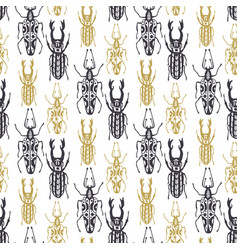 Cute hand drawn seamless pattern with insect vector