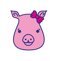 cute pig female wild animal vector image