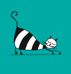 cute striped cat sketch for your design vector image