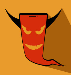 devil phone halloween evil face vector image