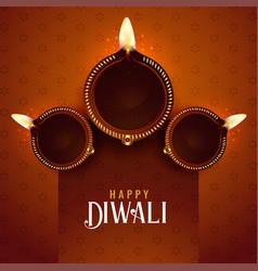 Diwali festival diya background design template vector