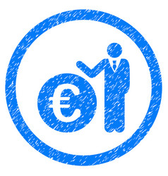euro economist rounded icon rubber stamp vector image