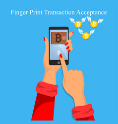 finger print money trasnaction acceptance vector image