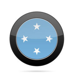 flag of micronesia shiny black round button vector image