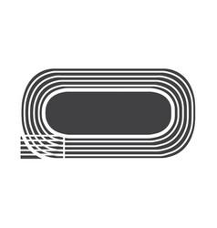 Flat black running track icon vector