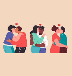 Flat couples kissing vector