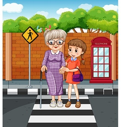 Girl helping grandmother crossing the street vector