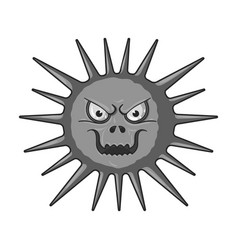 Gray virus icon in monochrome style isolated on vector