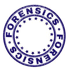 Grunge textured forensics round stamp seal vector