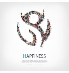 happiness people sign 3d vector image