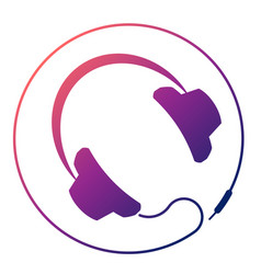 Headphones round icon vector