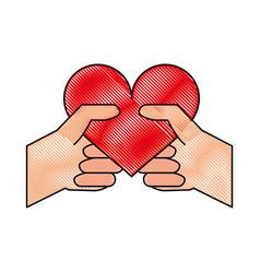 heart flat scribble vector image