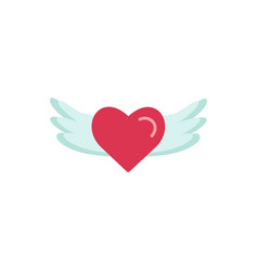 heart wings fly romantic flat icon vector image
