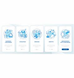 Hepatic disease types onboarding mobile app page vector