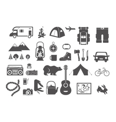 Hiking camping - set of icons and elements vector