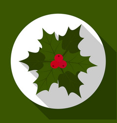 holly berry on green background with long shadow vector image