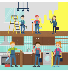 house improvement team horizontal banners vector image