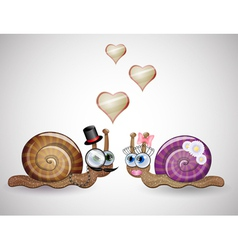 Isolated funny female and male snails vector image