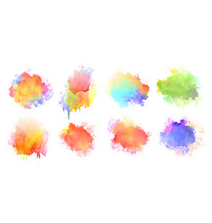 isolated watercolor splatter stain colorful set vector image
