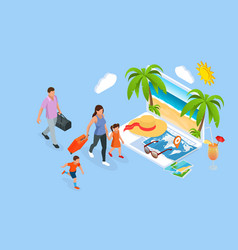 isometric family summer travel concept vector image