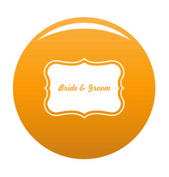 Just married label icon orange vector