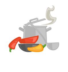 kitchenware saucepan and ladle vector image