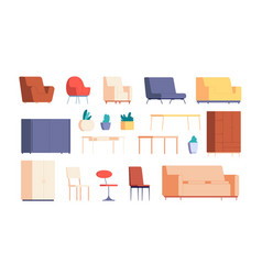 Living room furniture home interior creation vector