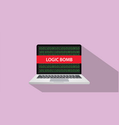 Logic bomb concept with laptop comuputer and text vector