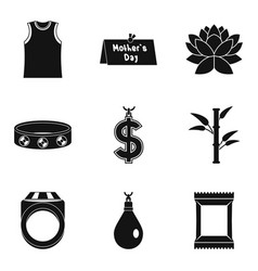 Madam icons set simple style vector